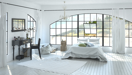 Elegant spacious white bedroom interior with a writing table between two windows and double bed under a large arched view window on a white parquet floor with inlay. 3d Rendering.