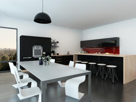 Moderno appartamento a pianta aperta interno con un tavolo elegante e contemporaneo da pranzo e sedie, isola centrale con sgabelli da bar e le pertinenze. rendering 3D Archivio Fotografico