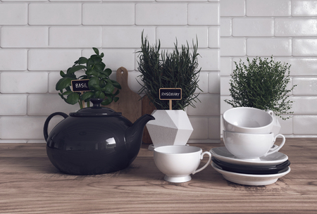 eclectic: Trio of Herbs Growing Variety of Containers on Modern Wooden Kitchen Counter with Tea Pot, Cups and Saucers in Foreground. 3d Rendering. Stock Photo