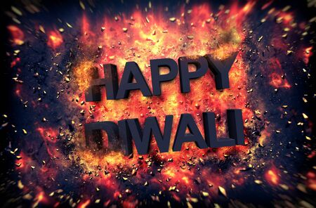 Burning embers and exploding fire surrounding the phrase Happy Diwali over black background