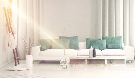 Ampio divano bianco vicino alla luce del sole in streaming attraverso la finestra laterale in mezzo scorre tende e grande vaso di vetro con rami. Rendering 3D.