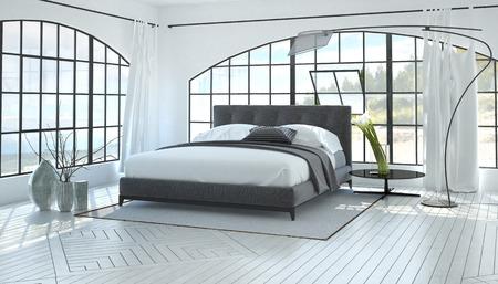 Grand intérieur spacieux et lumineux d'une chambre avec un lit double gris dans une salle blanche monochromatique avec deux fenêtres de vue cintrées. Rendu 3D. Banque d'images