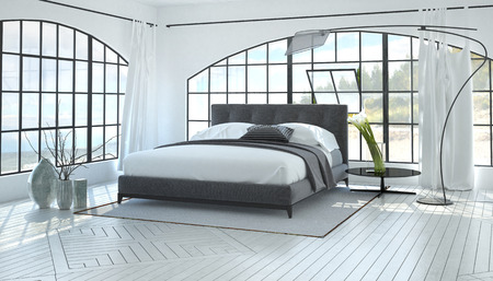 Large spacious bright bedroom interior with a grey double bed in a monochromatic white room with two arched view windows. 3d Rendering.