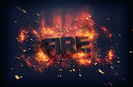 dynamic heat black: Burning orange fiery flames and explosive sparks on a dark background with the word - Fire - in black text for a dramatic poster design