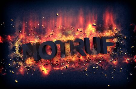 red hot iron: Burning coals and exploding flames surrounding the phrase Notruf over black background Stock Photo