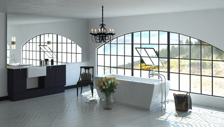 windowpanes: Interior room 3D render of luxurious bathroom with large tub near wide arched pivoting window. 3d Rendering.