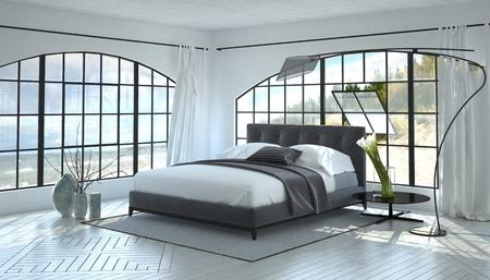 Lumineux moderne et aéré chambre intérieure avec un lit double gris entre deux grandes fenêtres de vue dans une salle blanche monochromatique avec lampe contemporaine incurvée. Rendu 3D. Banque d'images - 56101290