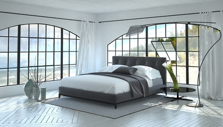 Modern bright and airy bedroom interior with a grey double bed between two large view windows in a monochromatic white room with curved contemporary lamp. 3d Rendering.
