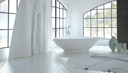 angled view: Luxury white bathroom interior with a contemporary freestanding tub set at an angle in the corner between two large arched view windows. 3d Rendering.