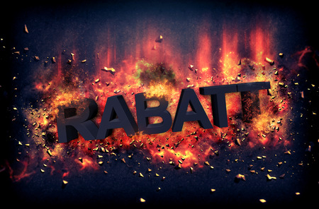 red hot iron: Burning embers and exploding flames surrounding the rabatt word over black background Stock Photo