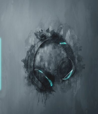 painterly effect: Single earphones set in gray paint strokes and flat dark background with rough vignette painterly effect Stock Photo
