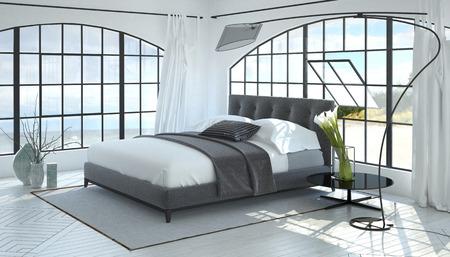Arquitectónica en 3D render de habitación con la luz del sol que entra por las ventanas arqueadas brillantes junto a elegantes lámpara de pie y la Casa de las plantas. Representación 3d.