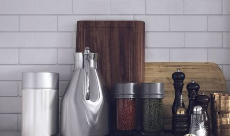 a close up: Still Life of Modern Kitchen Wares Arranged Neatly on Counter - Various Herbs and Spices in Variety of Containers in Kitchen with White Tile Backsplash Wall. 3d Rendering.