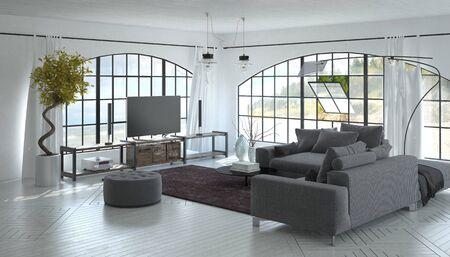 oceanfront: 3D interior of spacious living room with wide screen television screen, plants, sofa, footstool and oceanfront background seen through large pivoting window. 3d Rendering. Stock Photo