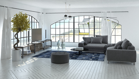 view of a spacious living room: Comfortable spacious grey and white living room interior with large arched view windows and ornamental potted topiary. 3d Rendering.
