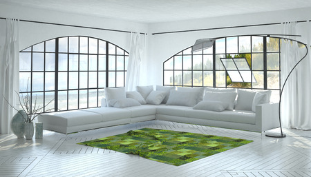 home accents: Monochromatic white living room interior with a striking green accent rug and corner unit settee below two arched view windows. 3d Rendering.
