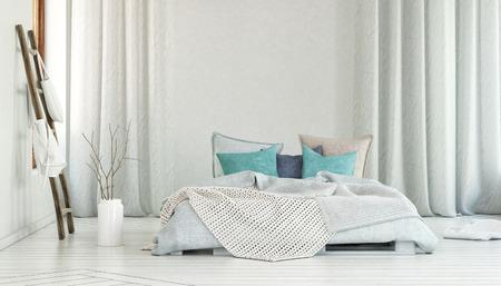 床と青い枕と長い白いカーテン ルーム大ベッド 1 台のプランターの横にある棒の袋のストレージ。3 d レンダリング。