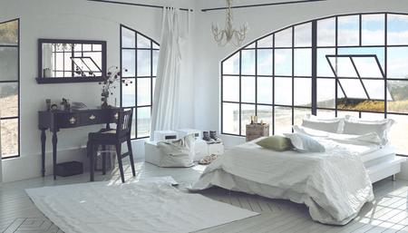 intérieur de la maison 3D de chambre spacieuse avec bureau en bois, chaise assortie, large miroir et une grande fenêtre pivotante arqué. Rendu 3D.