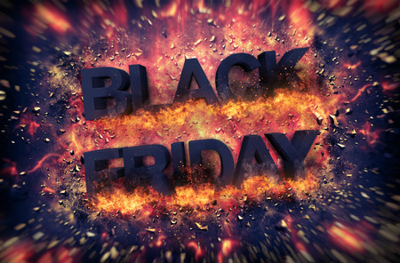 markdown: Black Friday Thanksgiving Christmas holiday exploding sign with embers as full frame background