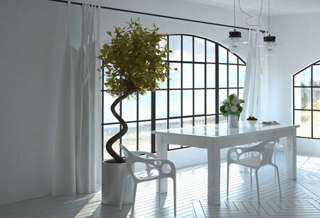 coastal: Writing table overlooking the coast in a monochromatic white room with spiral topiary tree and ornamental parquet floor. 3d Rendering.