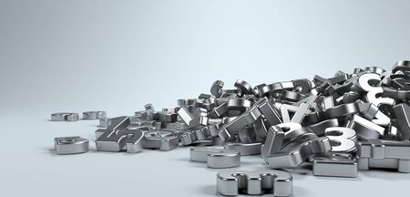 jumbled: Pile or bunch of metal iron figures numbers isolated on white background. Concept image for education, maths, business or calculation. 3d Rendering. Stock Photo