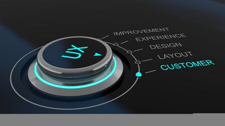 user experience: Dial or control knob monitoring User Experience imprinted with the letters UX with channels for feedback labelled improvements, experience, design, layout and customer Stock Photo