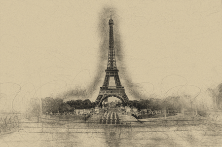 olden day: Centered Eiffel Tower in Paris France as charcoal sketch on brown paper for greeting or post card Stock Photo