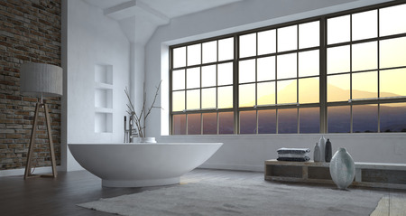 corner tub: Modern minimalist luxury grey and white bathroom interior with a large view window and freestanding boat-shaped bathtub with eclectic decor, 3d, render
