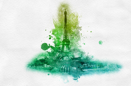 painterly effect: Symbolic celebration or souvenir graphic with Eiffel tower in France portrayed in splattered green paint over gray background Stock Photo