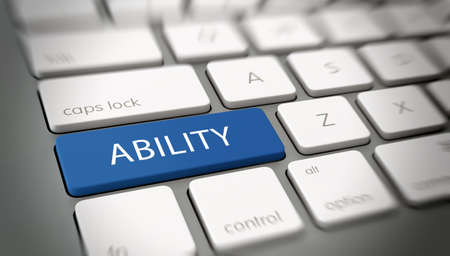 ability: Online or internet concept with white text - ABILITY - on a blue enter key on a white computer keyboard viewed at an oblique high angle with blur vignette for focus. 3d Rendering.