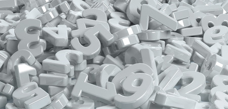 jumbled: Pile or bunch of white figures numbers isolated on white background. Concept image for education, maths, business or calculation. 3d Rendering. Stock Photo