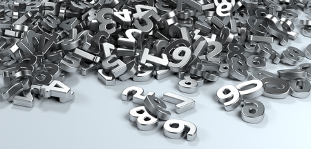 Pile or bunch of metal iron figures numbers isolated on white background. Concept image for education, maths, business or calculation. 3d Rendering. Stock Photo