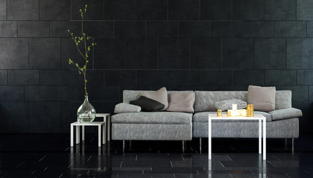 room accents: Architectural Interior of Modern Living Room with Sofa and Various Side Tables with Plants and Candle Accents in front of Dark Walls with Copy Space Stock Photo