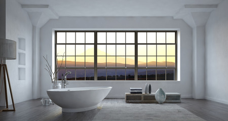 corner tub: Large spacious modern minimalist monochrome white bathroom interior with freestanding bost-shaped bathtub and large view window at sunset, 3d render