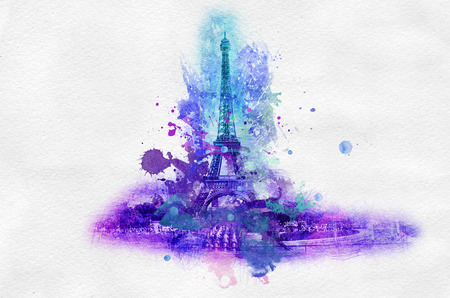 painterly effect: Symbolic celebration or souvenir graphic with Eiffel tower in France portrayed in splattered paint over gray background Stock Photo