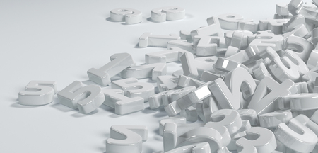 numbers background: Pile or bunch of white figures numbers isolated on white background. Concept image for education, maths, business or calculation. 3d Rendering. Stock Photo