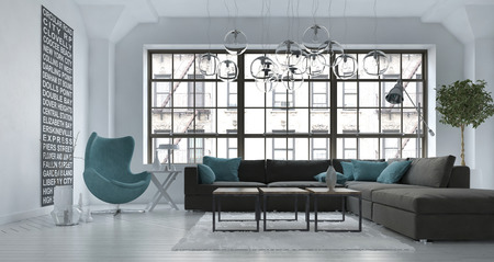 Living room interior in a modern urban apartment with a grey upholstered corner lounge suite and blue tub chair against a large view window, 3d render