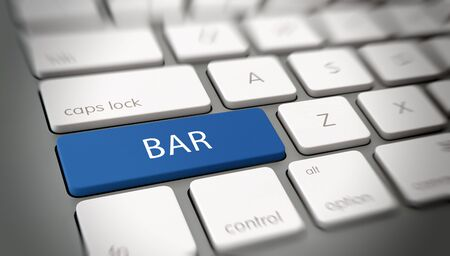 angle bar: Online or internet concept with white text - BAR - on a blue enter key on a white computer keyboard viewed at an oblique high angle with blur vignette for focus. 3d Rendering. Stock Photo