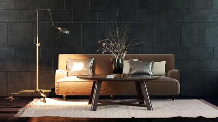 beside table: Single adjustable floor lamp illuminating corner of brown sofa beside table over white throw rug and hardwood floor