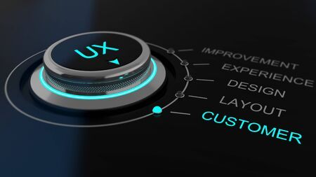 Dial or control knob monitoring User Experience imprinted with the letters UX with channels for feedback labelled improvements, experience, design, layout and customer