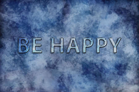 contentment: Be Happy motivational message on an abstract mottled paint effect blue background with copy space Stock Photo