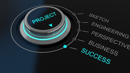 success business: Project control dial with selection choices showing the process of development of a business through to success which is illuminated, conceptual illustration Stock Photo