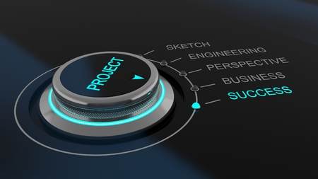 success control: Project control dial with selection choices showing the process of development of a business through to success which is illuminated, conceptual illustration Stock Photo