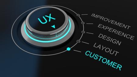 Dial of bedieningsknop controle User Experience bedrukt met de letters UX met kanalen voor feedback label verbeteringen, ervaring, ontwerp, lay-out en de klant Stockfoto
