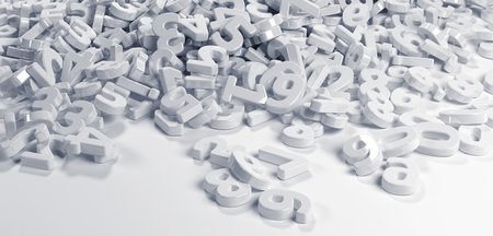 Pile or bunch of white figures numbers isolated on white background. Concept image for education, maths, business or calculation. 3d Rendering. Stock Photo