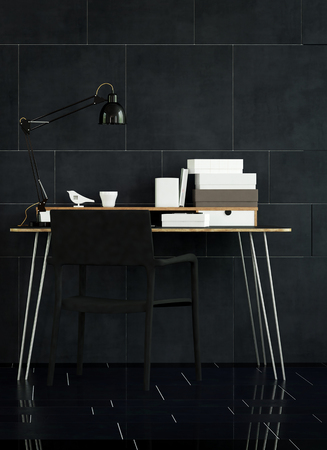 animal den: Interior Still Life of Modern Table with Organizers and Lamp in Spacious Office with Black Chair, and Dark Tile Floor and Walls
