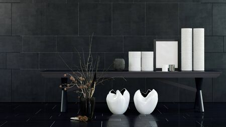 dried flower arrangement: Interior Still Life of Modern Table with White Vases, Candles and Frame in Spacious Room with Decorative Dried Flower Arrangement and Black Tile Floor and Walls