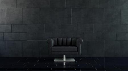 복사 공간 어두운 타일 바닥과 벽이있는 넓은 객실에서 실버 받침대와 단일 현대 봉제 블랙 가죽 팔의 자
