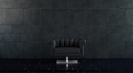 Single Modern Plush Black Leather Arm Chair with Silver Pedestal in Spacious Room with Dark Tile Floor and Walls with Copy Space Stock Photo