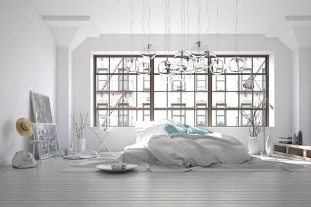 decoration messy: Stark white monochromatic messy bedroom interior with a rumpled rug, unmade bed and large window overlooking an apartment block with eclectic furnishings, 3d render